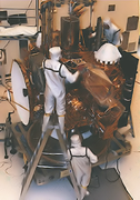Technician assembling the Mars Observer space probe