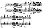 A chordal musical theme notated on two staves.