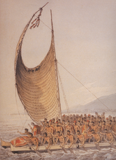 Drawing of single-masted sailboat with one spinnaker-shaped sail, carrying dozens of men