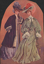 Color painting of two women in fine dresses and hats with large pink and purple bird plumes