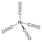 A nickel atom with four single bonds to carbonyl (carbon triple-bonded to oxygen; bonds via the carbon) groups that are laid out tetrahedrally around it