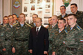Prime Minister Vladimir Putin with cadets of General Margelov Airborne Troops Academy in Ryazan