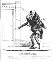 "Cartoon image of an older man riding on the back of another older man and stumbling toward the steps of a building labeled ""Capitol"""