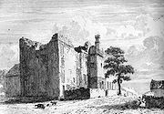 Lithograph drawing showing a large stately home in ruins