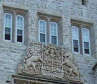 Coat of arms of Canada on Currie Hall, Mackenzie Building, Royal Military College of Canada