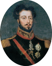 Half-length painted portrait of a brown-haired man with mustache and goatee, wearing a uniform with gold epaulettes and the Order of the Golden Fleece on a red ribbon around his neck and a black and red sash of office across his chest