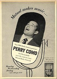 "Photograph of a man singing, superimposed on an illustration of a microphone and accompanied by advertising copy, including the slogan ""Mutual makes music...""."