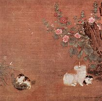 A square painting depicting four cats, two in the bottom left tussling and two on the bottom right not doing anything in particular, in a garden with small flowering bushes.
