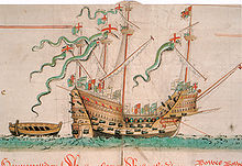A highly ornamented ship with four masts and bristling with guns sailing over a mild swell towards the right of the picture, towing a small boat