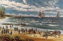 Painting of Continental Marines landing on a tropical beach from rowboats, with two ships in the background
