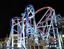 Battlestar Galactica at night - Universal Studios Singapore cropped.jpg
