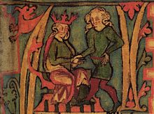 A page from an illuminated manuscript shows two male figures. On the left a seated man wears a red crown and on a the right a standing man has long fair hair. Their right hands are clasped together.