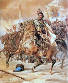 A painting of Casimir Pulaski leading a cavalry and brandishing a sword.