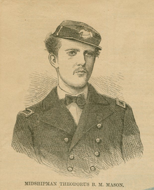 A black and white drawing of the shoulders and head of young man wearing the uniform of a midshipman in the United States Navy c. 1868.