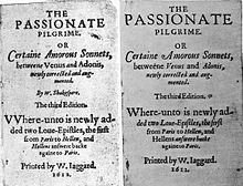 Two versions of a title page of an anthology of poems, one showing Shakespeare as the author, while a later, corrected version shows no author.