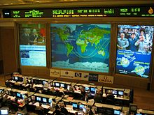 A large room with two banks of computer workstations and their operators visible. On the wall facing these workstations are three large screens displaying a diagram of an orbital ground track, a space station crew and various other pieces of data, with a large ticker above these screens. Advertisement boards are situated below the screens.