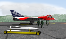 Artist's impression of red, white and blue jet aircraft parked on ramp, with white missile in the foreground.