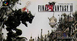 The Japanese cover of Final Fantasy VI, showing a blond woman riding a mechanical device next to a city