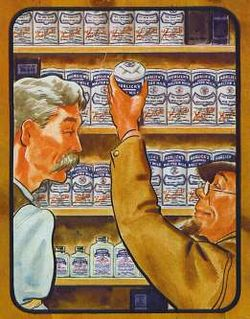 Illustration of two men in profile before a wall of shelves filled with identically labeled cans. The man on the left is taller and has a mustache. The shorter man on the right is goateed and wears glasses and a cap; he is pulling down a can.