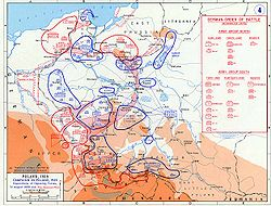 A Map showing the dispositions of the opposing forces on 31 August 1939 with the German plan of attack overlayed.