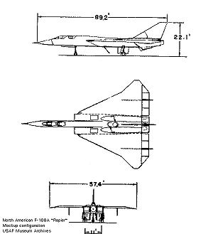 Orthographically projected diagram of the North American XF-108 Rapier.