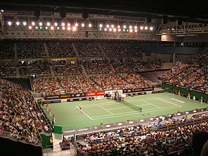 tennis court surrounded by stands filled with people